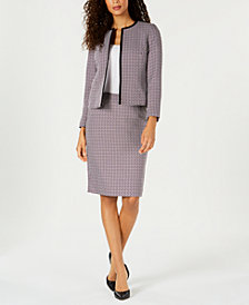 Le Suit Petite Collarless Tweed Skirt Suit