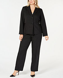 Le Suit Plus Size Two-Button Pinstriped Pantsuit