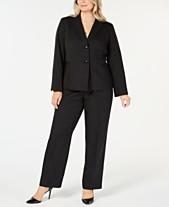 66aeb54408d81 Le Suit Plus Size Two-Button Pinstriped Pantsuit