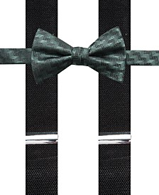 Alfani Men's Errol Chevron Stripe Bow Tie & Suspenders Set, Created for Macy's