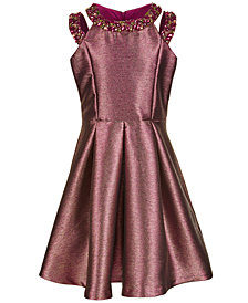 Bonnie Jean Big Girls Beaded Metallic Dress