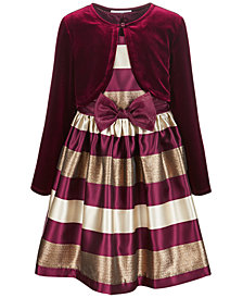 Bonnie Jean Little Girls 2-Pc. Jacquard Striped Dress & Velvet Shrug Set