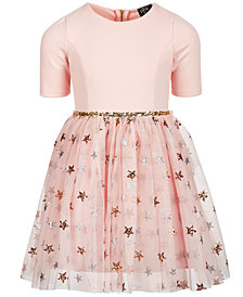 Pink & Violet Little Girls Glitter Star Dress