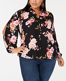 I.N.C. Plus Size Floral-Print Button-Front Shirt, Created for Macy's