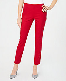 JM Collection Petite Side-Striped Tummy-Control Pants, Created for Macy's