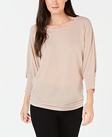 JM Collection Metallic Boat-Neck Top, Created for Macy's
