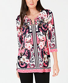 JM Collection Petite Printed Chain-Trim Top, Created for Macy's