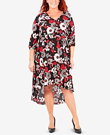 Plus Size Printed High-Low Maxi Dress