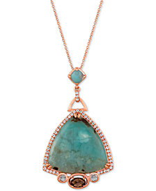 "Le Vian® Turquoise Aquaprase (24 x 24mm, 5 x 5mm) & Multi-Gemstone (7/8 ct. t.w.) 18"" Pendant Necklace in 14k Rose Gold"