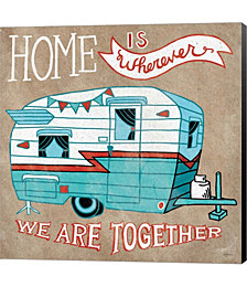 Adventure Love Camper Taupe by Mary Urban Canvas Art