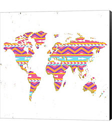 World Map Kilim & Gold by Ramona Murdock Canvas Art
