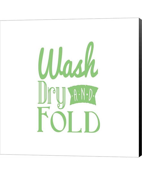 Metaverse Wash Dry And Fold Green Text by Inspire Me Canvas Art