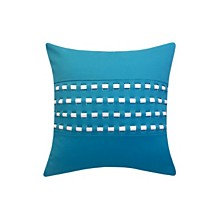 Edie@Home Woven Cord Outdoor Pillow Turquoise 18X18