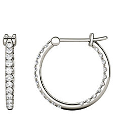 Moissanite Hoop Earrings (3/8 ct. t.w. Diamond Equivalent) in 14k White Gold