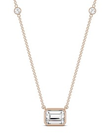 Moissanite Emerald Bezel Necklace (1-7/8 ct. tw. Diamond Equivalent) in 14k Yellow or Rose Gold