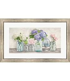 Flowers in Mason Jar by Jenny Thomlinson Framed Art