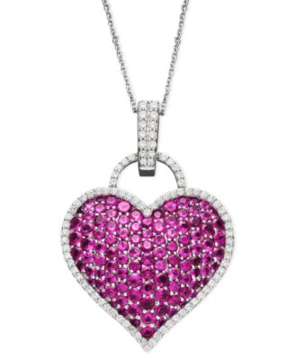 2Ct  diamond ruby heart pendant necklace 14K yellow gold over baguette rounds