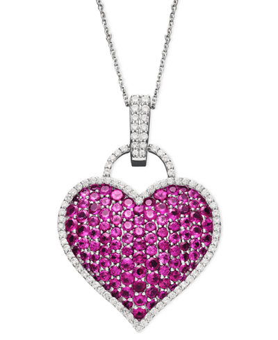 14k white gold necklace ruby 6 12 ct tw and diamond 12 ct 14k white gold necklace ruby 6 12 ct tw aloadofball Image collections