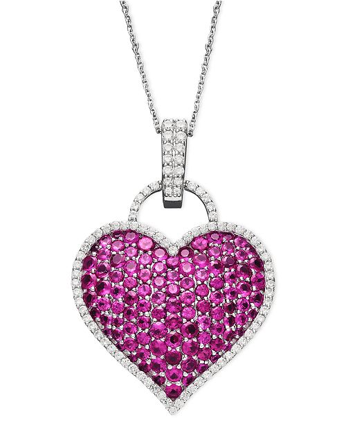 Macy's 14k White Gold Necklace, Ruby (6-1/2 ct. t.w.) and Diamond (1/2 ct. t.w.) Pave Heart Pendant