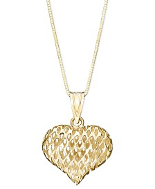 "Glitter Heart Pendant 18"" Necklace in 14k Gold"