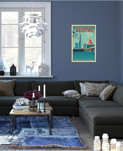 """iCanvas """"Austin, Texas (Congress Ave. Bridge & Downtown Skyline)"""" by Anderson Design Group Gallery-Wrapped Canvas Print"""