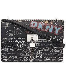 Elissa Leather Graffiti Logo Chain Strap Shoulder Bag, Created for Macy's