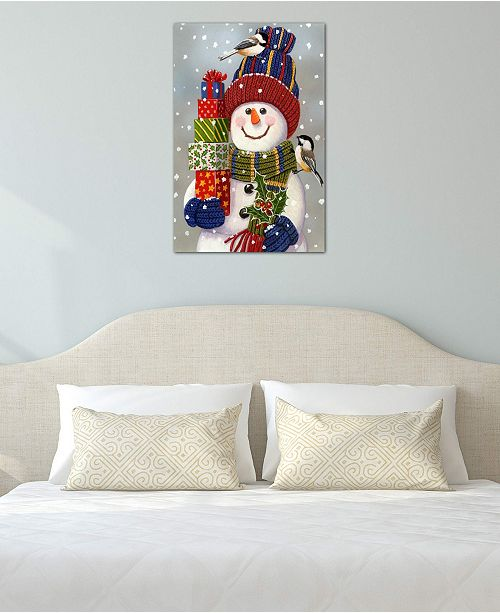 """iCanvas """"Snowman With Presents"""" by William Vanderdasson Gallery-Wrapped Canvas Print (40 x 26 x 0.75)"""