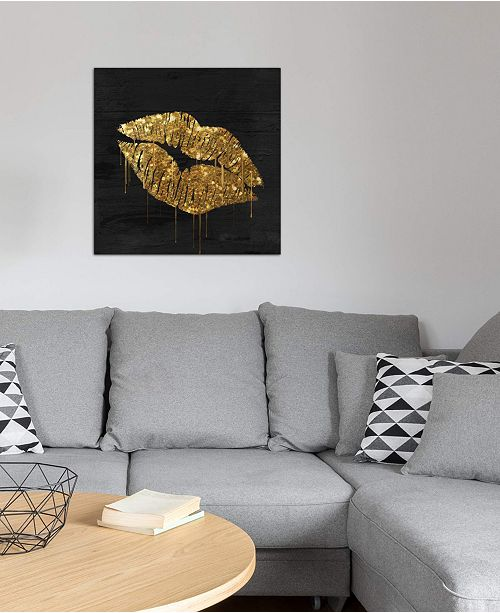"""iCanvas """"Golden Lips"""" by Color Bakery Gallery-Wrapped Canvas Print (18 x 18 x 0.75)"""
