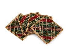 Thirstystone Beaded Plaid Coasters Set of 4
