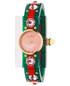 Women's Swiss Vintage Web Green-Red-Green Plexi-Resin Bangle Watch 24x40mm