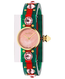 Gucci Women's Swiss Vintage Web Green-Red-Green Plexi-Resin Bangle Watch 24x40mm