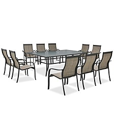 "Reyna Outdoor Aluminum 11-Pc. Dining Set (84"" X 60"" Dining Table and 10 Dining Chairs), Created For Macy's"