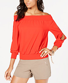 Thalia Sodi Smocked Split-Sleeve Top, Created for Macy's
