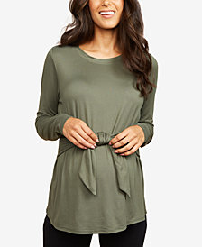 Motherhood Maternity Top, Long Sleeve Crew Neck with Tie Detail