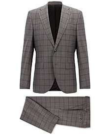 BOSS Men's Regular/Classic-Fit Checked Virgin Wool Suit