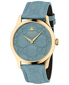 Gucci Unisex Swiss G-Timeless Blue GG Signature Leather Strap Watch 38mm