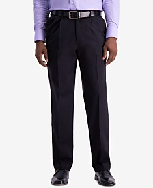 Haggar Men's W2W PRO Classic-Fit Performance Stretch Non-Iron Pleated Casual Pants