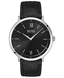 BOSS Hugo Boss Men's Essential Ultra Slim Black Leather Strap Watch 40mm