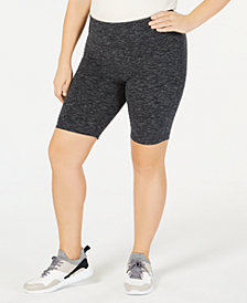 Ideology Plus Size Heathered Compression Cycling Shorts, Created for Macy's