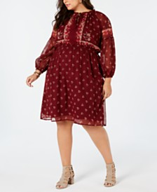 Lucky Brand Plus Size Printed Boho Peasant Dress