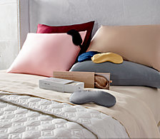 Silken Slumber Solid and Printed Silk Pillowcases & Eye Masks Collection