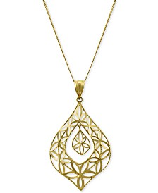 "Openwork Orbital Teardrop 18"" Pendant Necklace in 14k Gold"