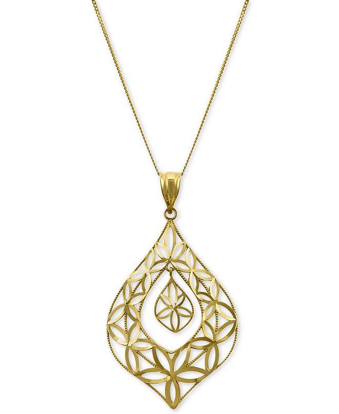 """Macy's Openwork Orbital Teardrop 18"""" Pendant Necklace in 14k Gold"""