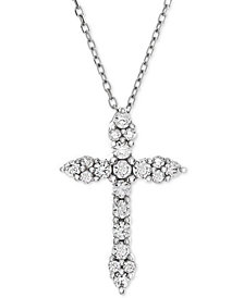 Diamond Cross Adjustable Pendant Necklace (1/2 ct. t.w.) in 14k White Gold