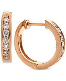 Diamond Huggie Hoop Earrings (1/2 ct. t.w.) in 14k Rose Gold