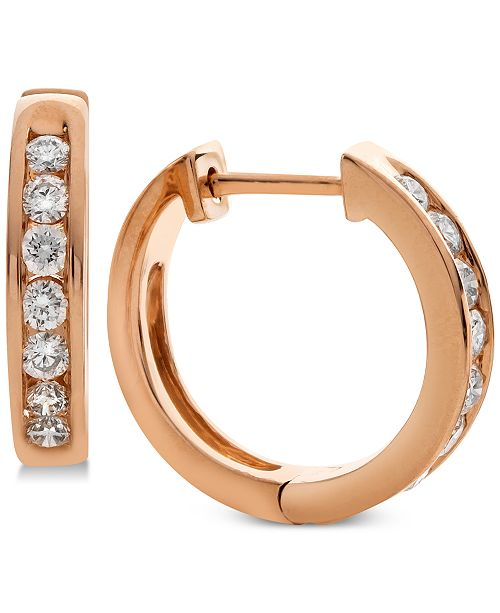 f30d1b7552a49 Diamond Huggie Hoop Earrings (1/2 ct. t.w.) in 14k Rose Gold