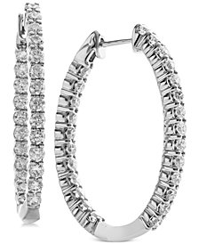 Diamond In & Out Oval Hoop Earrings (2 ct. t.w.) in 14k White Gold