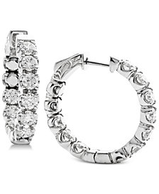 Diamond In & Out Hoop Earrings (3-1/4 ct. t.w.) in 14k White Gold