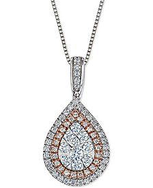 Diamond Teardrop Adjustable Pendant Necklace (1/2 ct. t.w.) in 14k White & Rose Gold