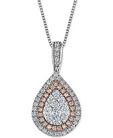 Diamond Teardrop Adjustable Pendant Necklace (1/2 ct. t.w.) in 14k White & Rose Gold